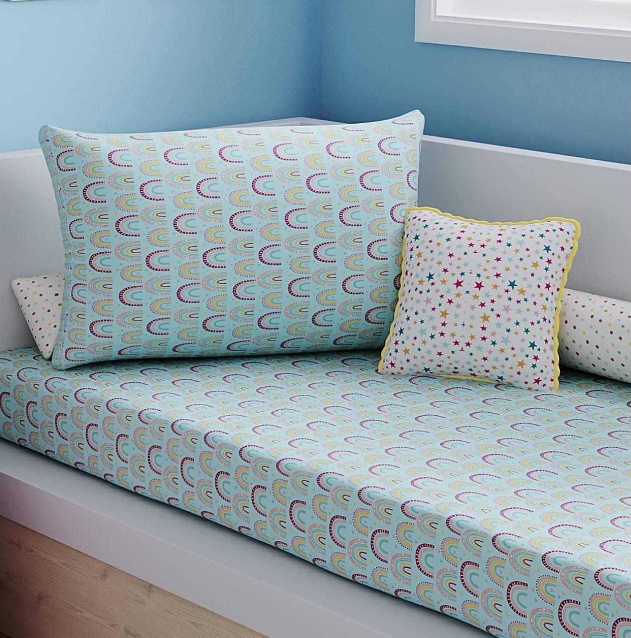 Jogo de lençol solteiro 100% algodão arco íris azul
