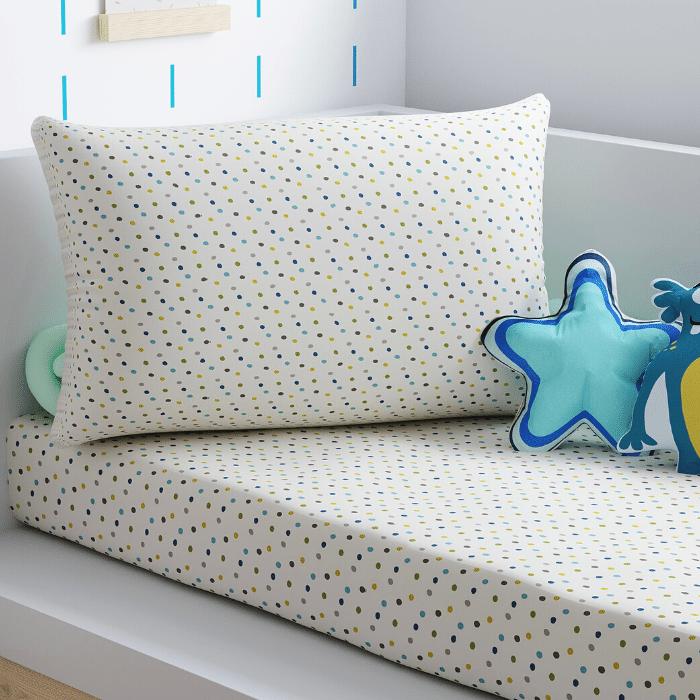 Jogo de lençol solteiro 100% algodão dots blue