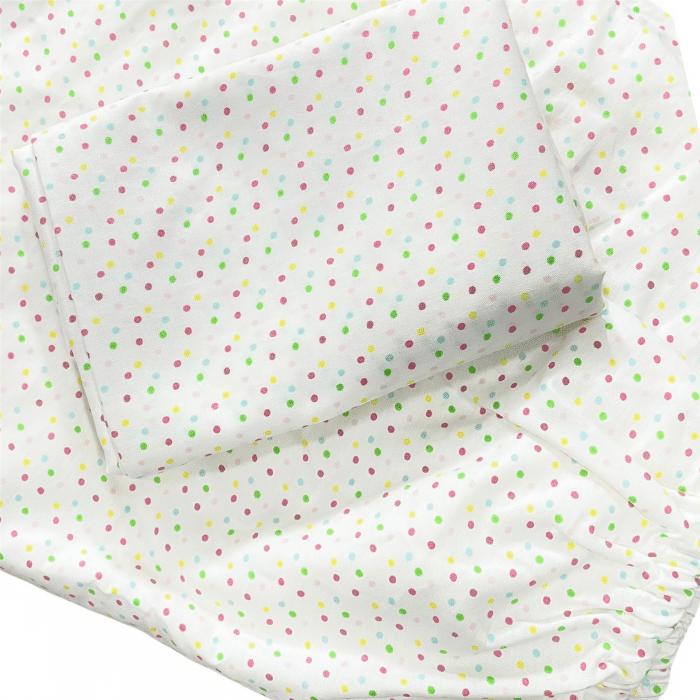 Jogo de lençol solteiro 100% algodão dots rose