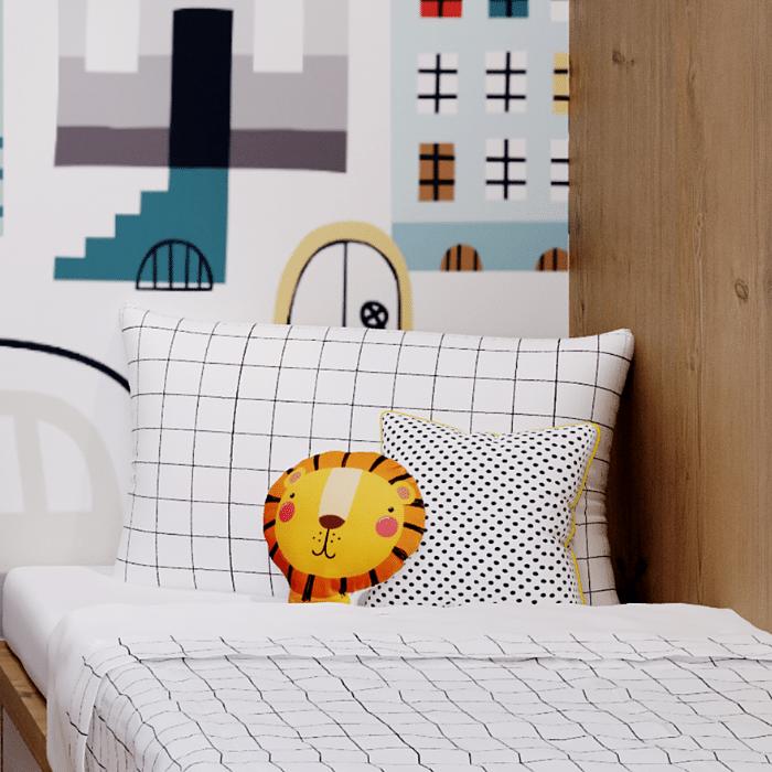 Jogo de mini cama 100% algodão Grid 3 peças