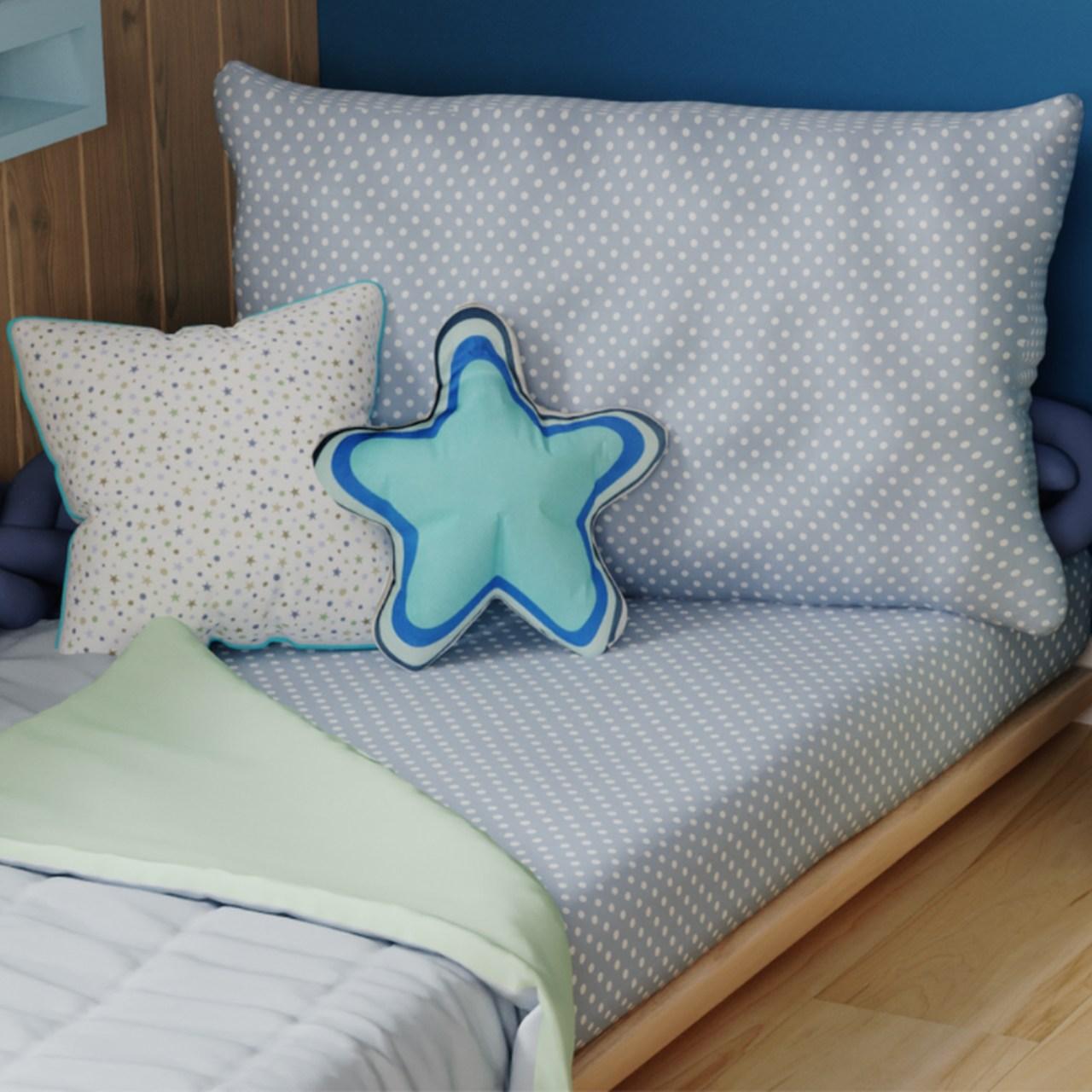 Jogo lençol de elástico solteiro estampa Confete azul