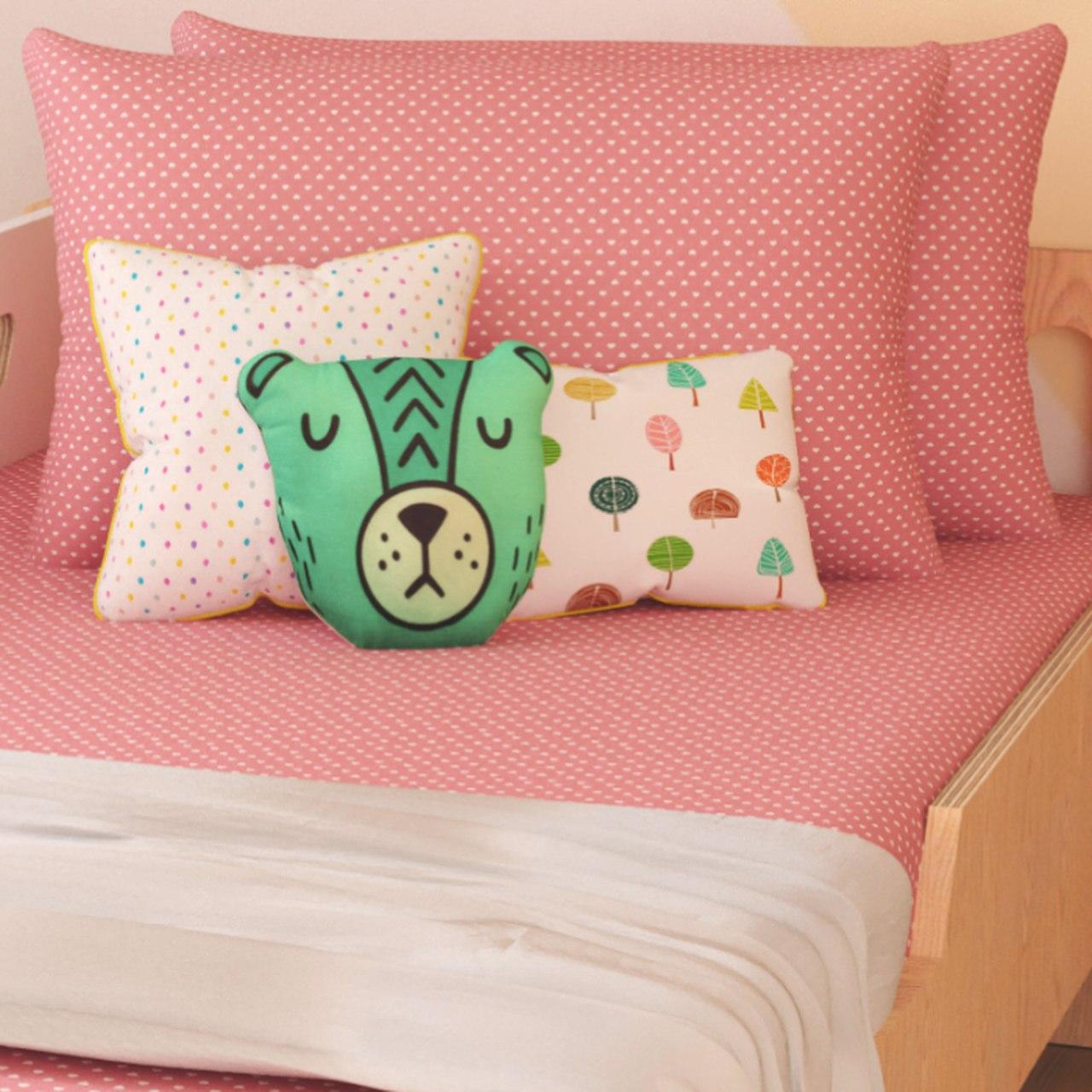 Jogo lençol de elástico solteiro estampa Coração rosa antigo
