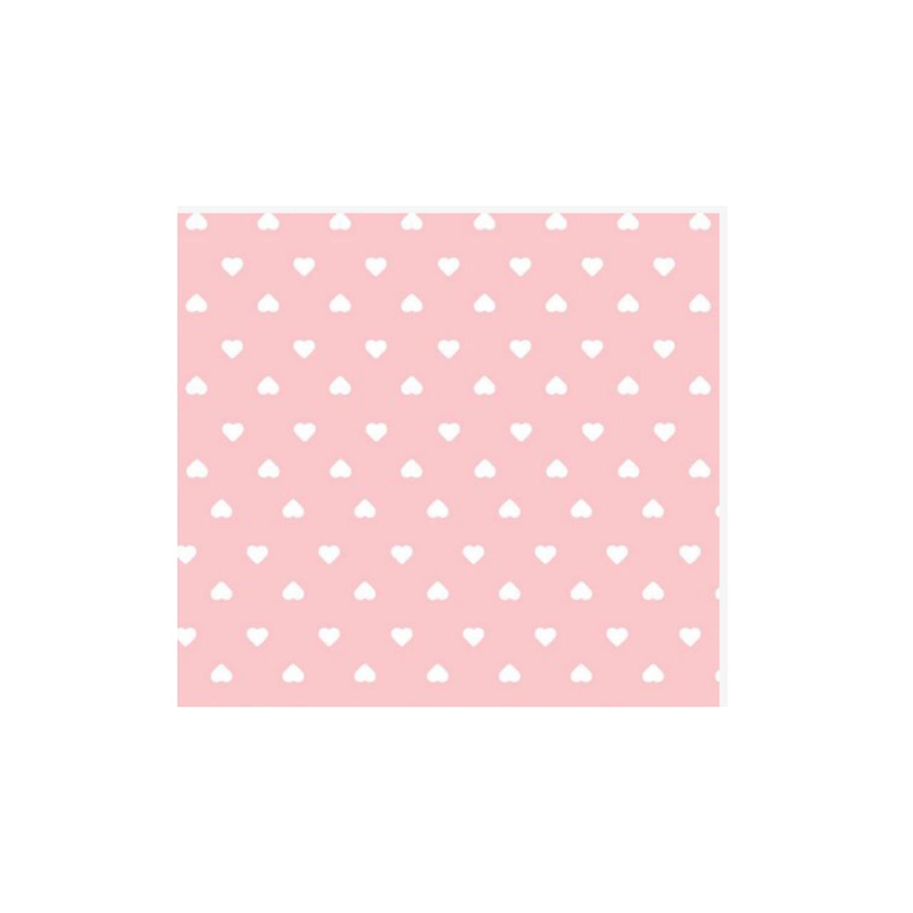 Jogo lençol de elástico solteiro estampa Poá com coração rosa