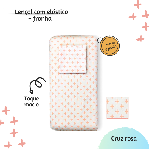 Jogo lençol de elástico solteiro estampa Cruz rosa