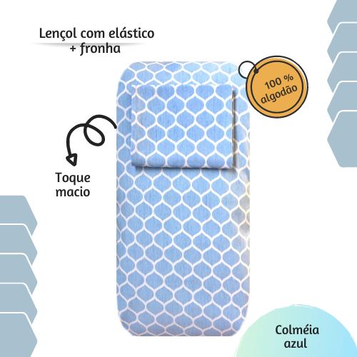 Kit lençol elástico infantil + fronha Colméia azul