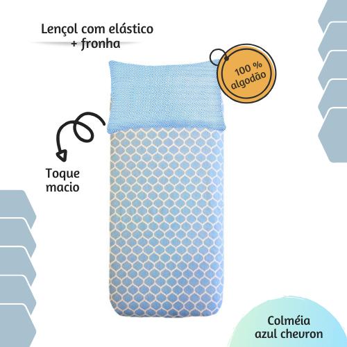 Jogo lençol de elástico solteiro estampa Colméia Chevron azul