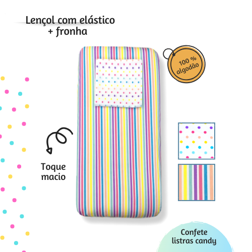 Kit lençol elástico infantil + fronha Confete Listrado candy