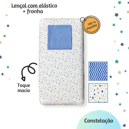 Kit lençol elástico infantil + fronha Constelação
