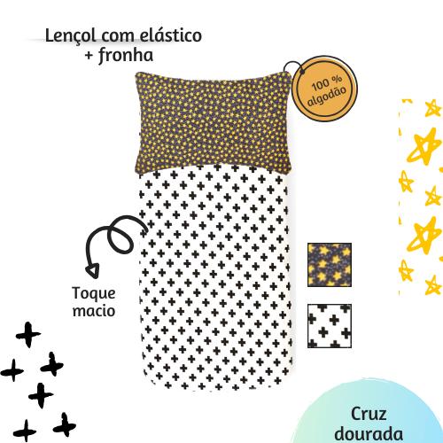 Kit lençol elástico infantil + fronha Cruz dourada