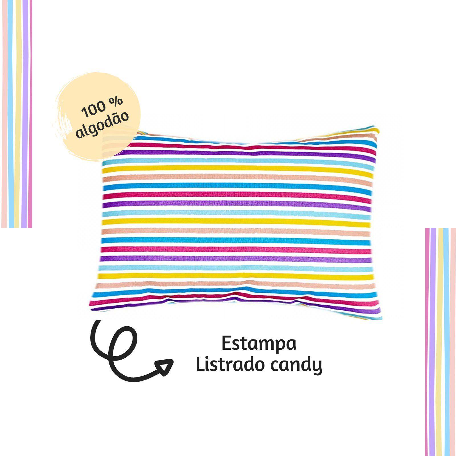 Jogo lençol de elástico solteiro estampa Listrado Candy  - Pomelo Decor