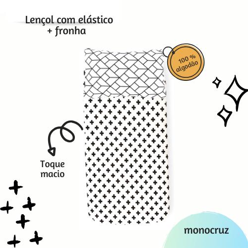 Kit lençol elástico infantil + fronha Monocruz