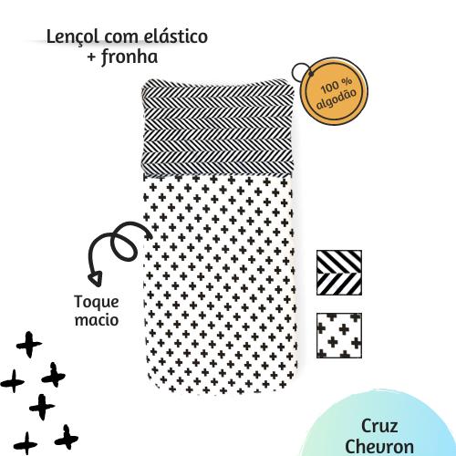 Jogo de lençol solteiro estampa cruz preta  - Pomelo Decor