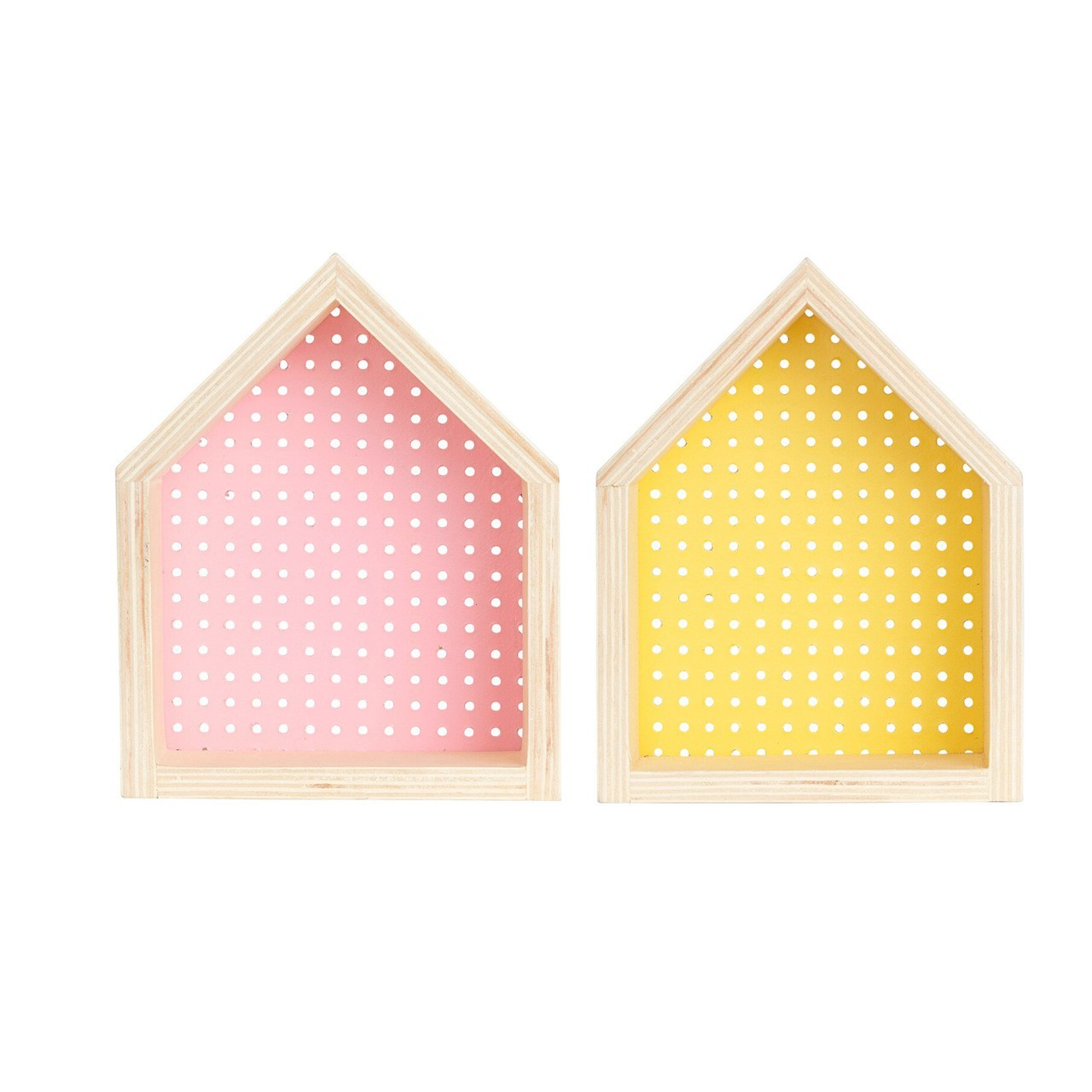 Kit Nicho Casinha perfurado  decoração 26 x 10 x 20 cm cor amarelo e rosa