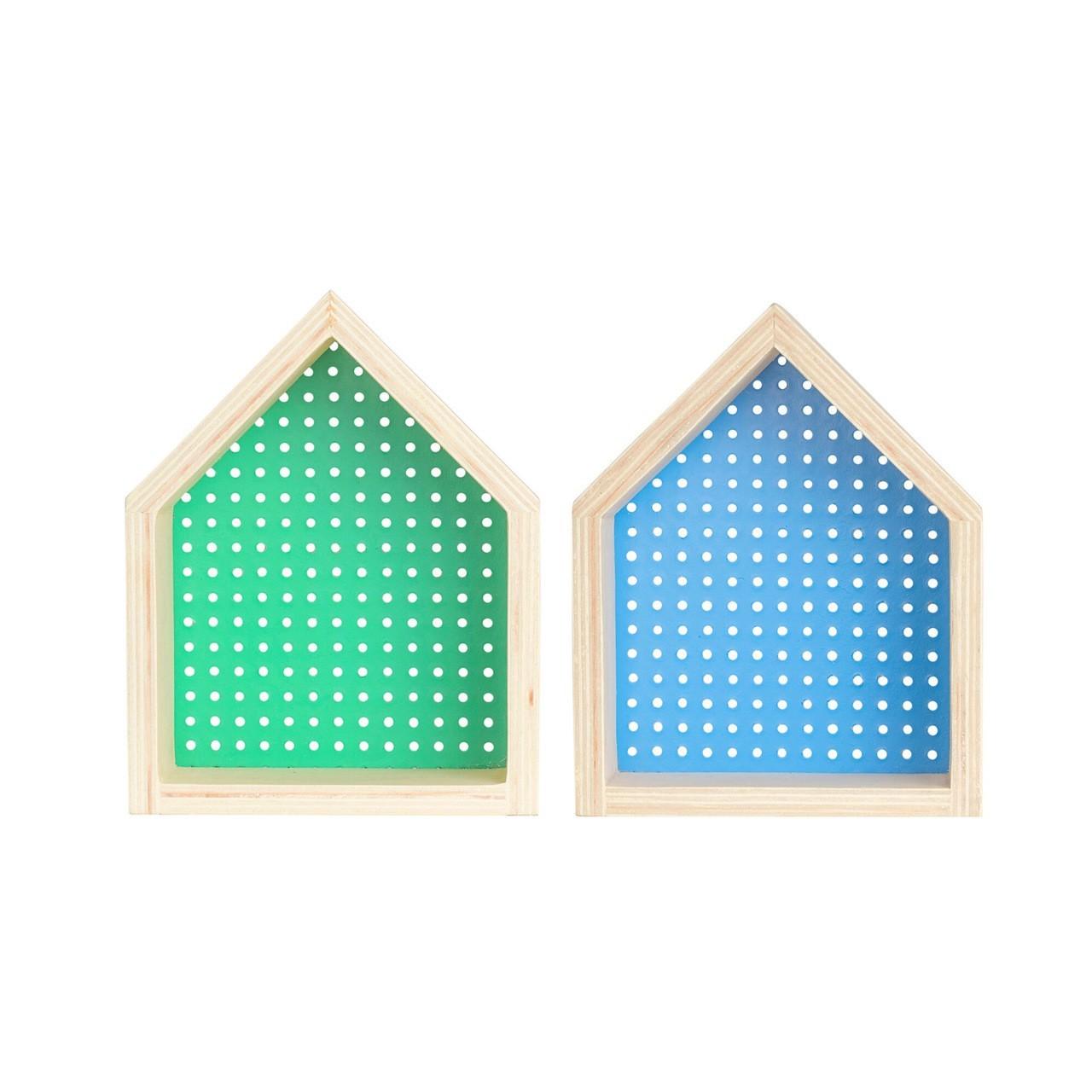Kit Nicho Casinha perfurado  decoração 26 x 10 x 20 cm cor verde e azul  - Pomelo Decor