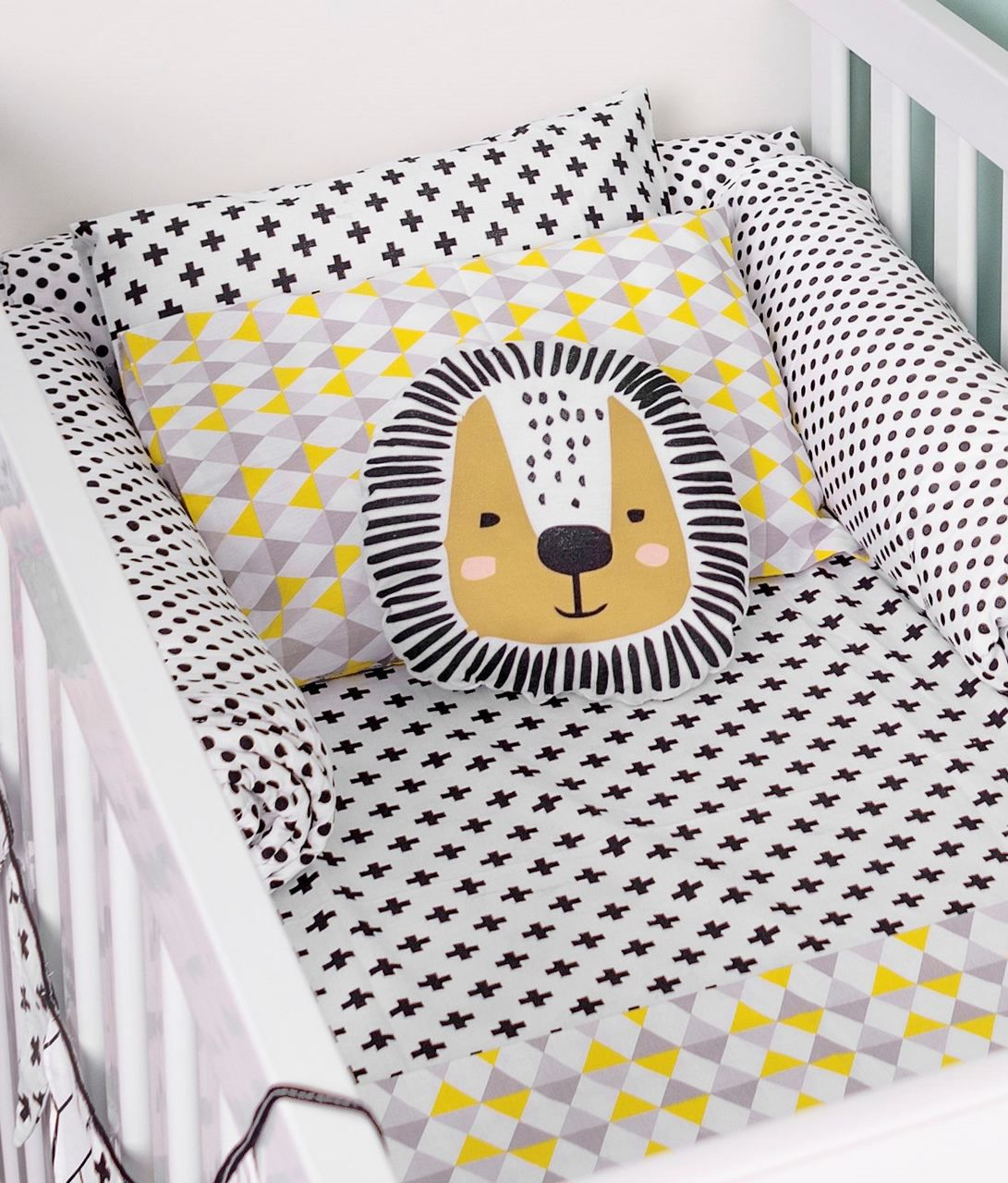 Lençol com elástico mini cama 70 x 150 cm  Cruz Preta  - Pomelo Decor