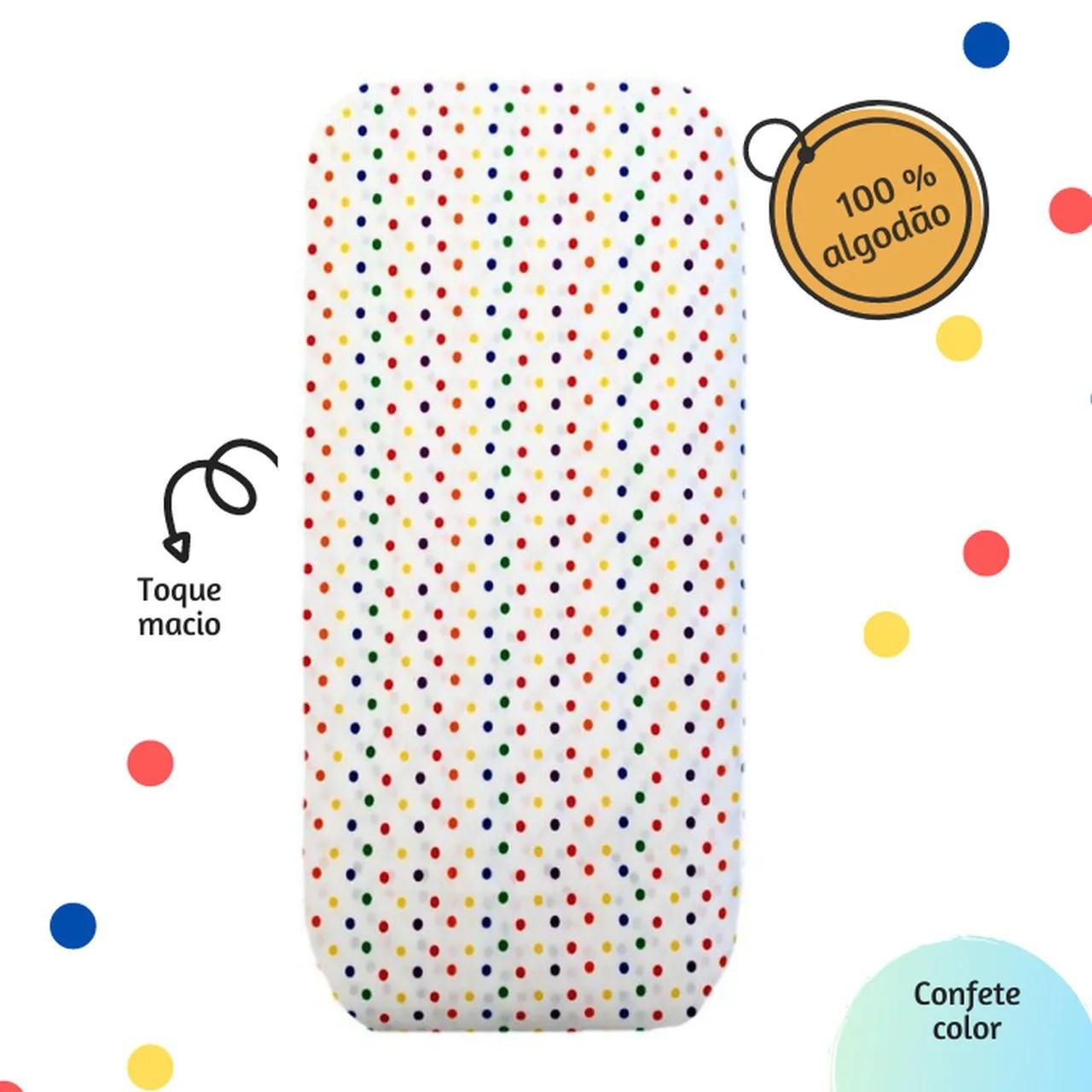 Lençol com elástico mini berço Confete color 100% algodão