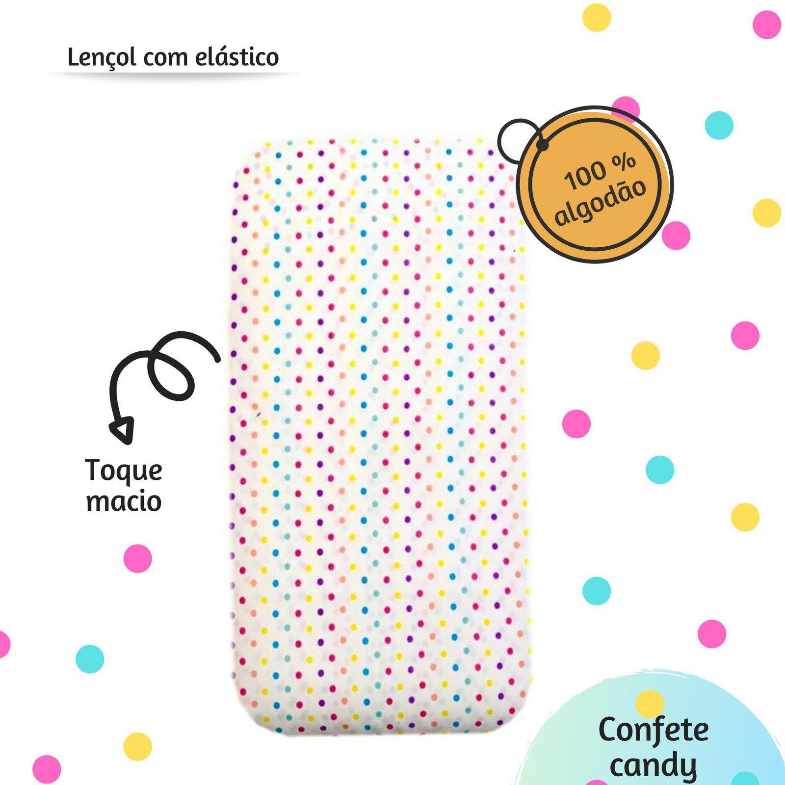 Lençol com elástico mini cama 70 x 150 cm  Confete candy  - Pomelo Decor