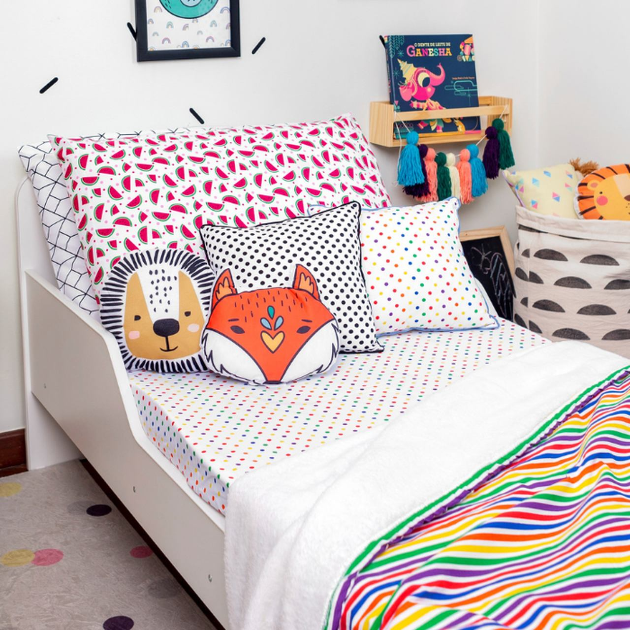 Lençol com elástico mini cama 70 x 150 cm  Confete color  - Pomelo Decor