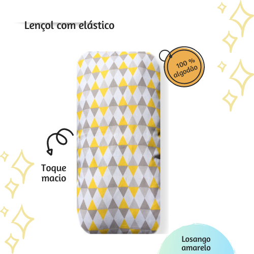 Lençol com elástico mini cama 70 x 150 cm  Losango amarelo