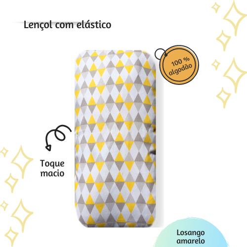 Lençol com elástico mini cama 70 x 150 cm  Losango amarelo  - Pomelo Decor