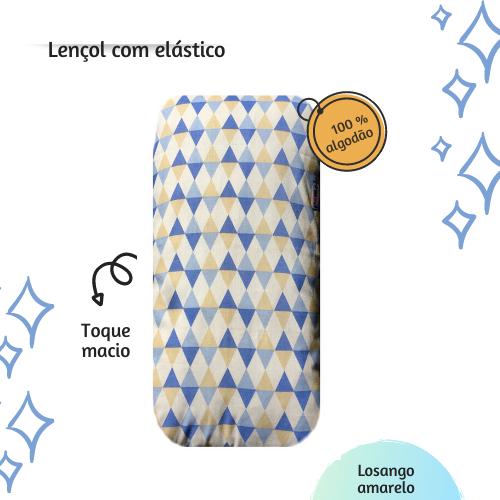 Lençol com elástico mini cama 70 x 150 cm  Losango azul