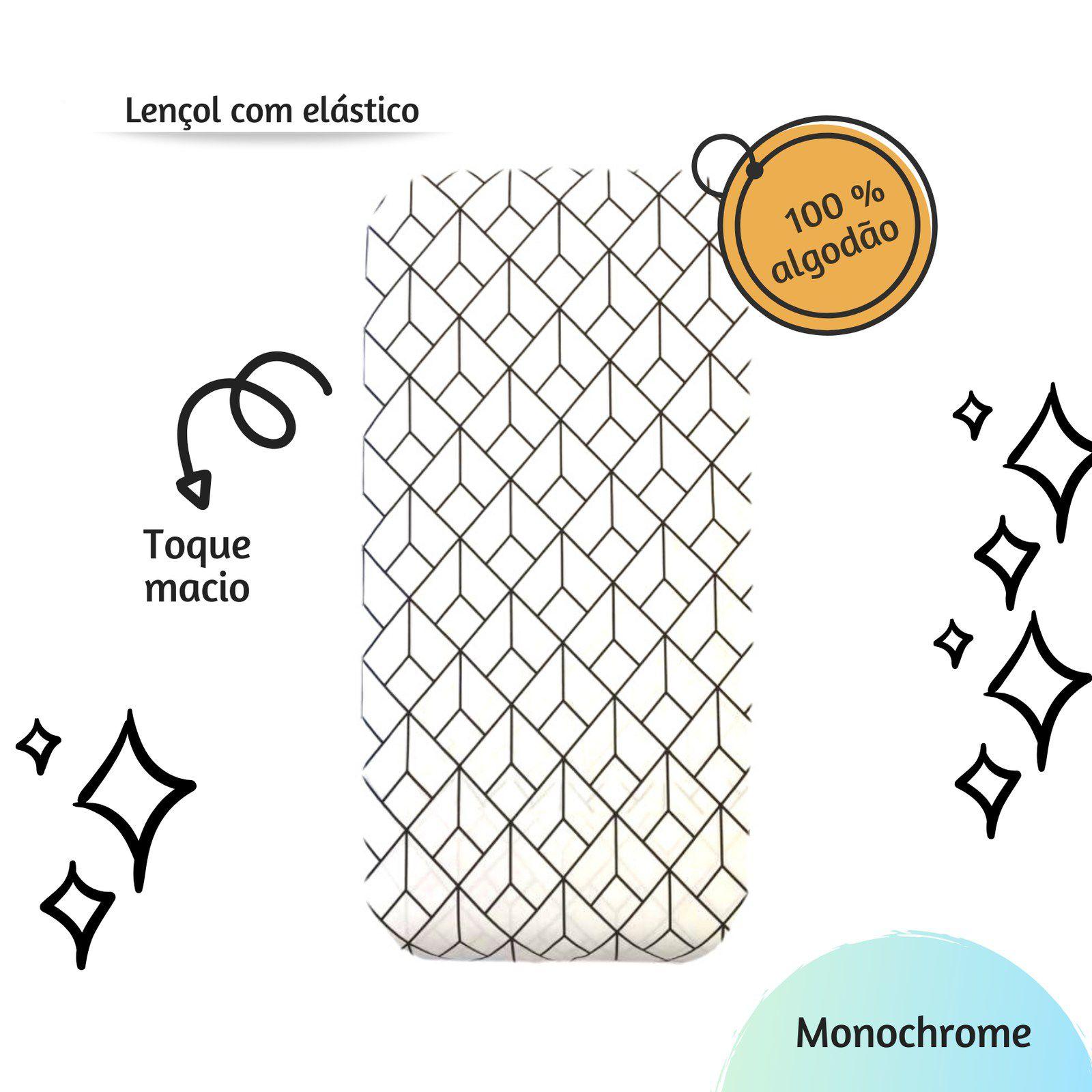 Lençol com elástico mini cama 70 x 150 cm Monochrome