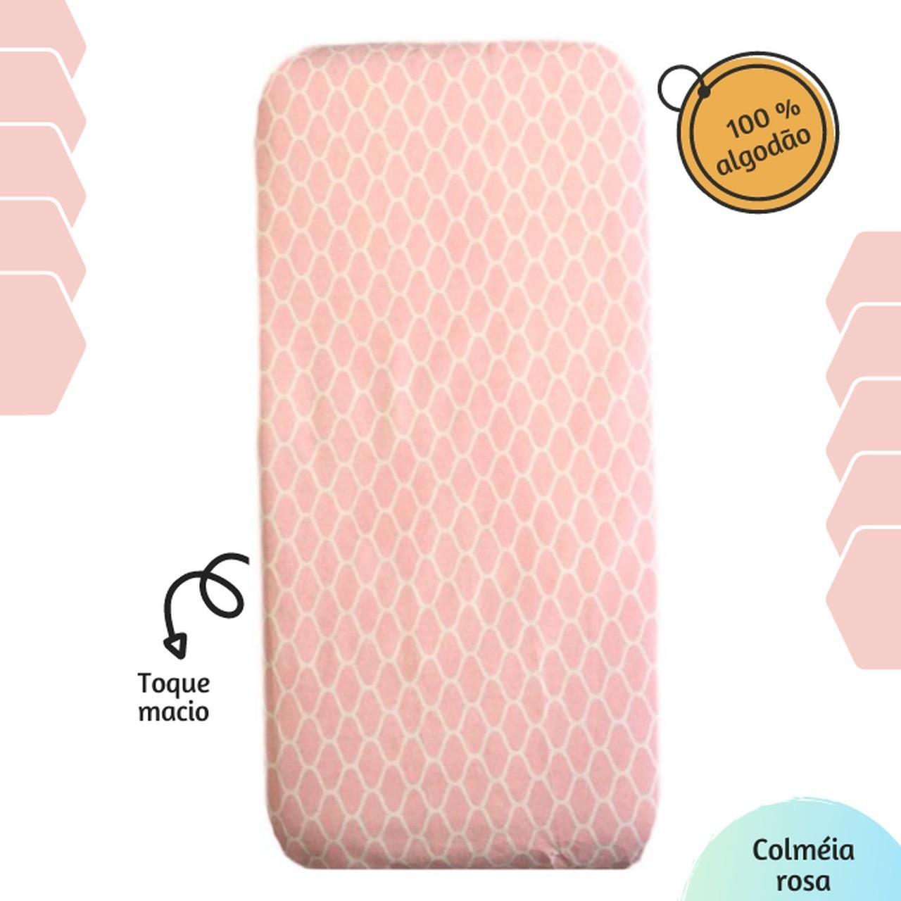 Lençol com elástico solteiro 88 x 188 cm Colmeia rosa