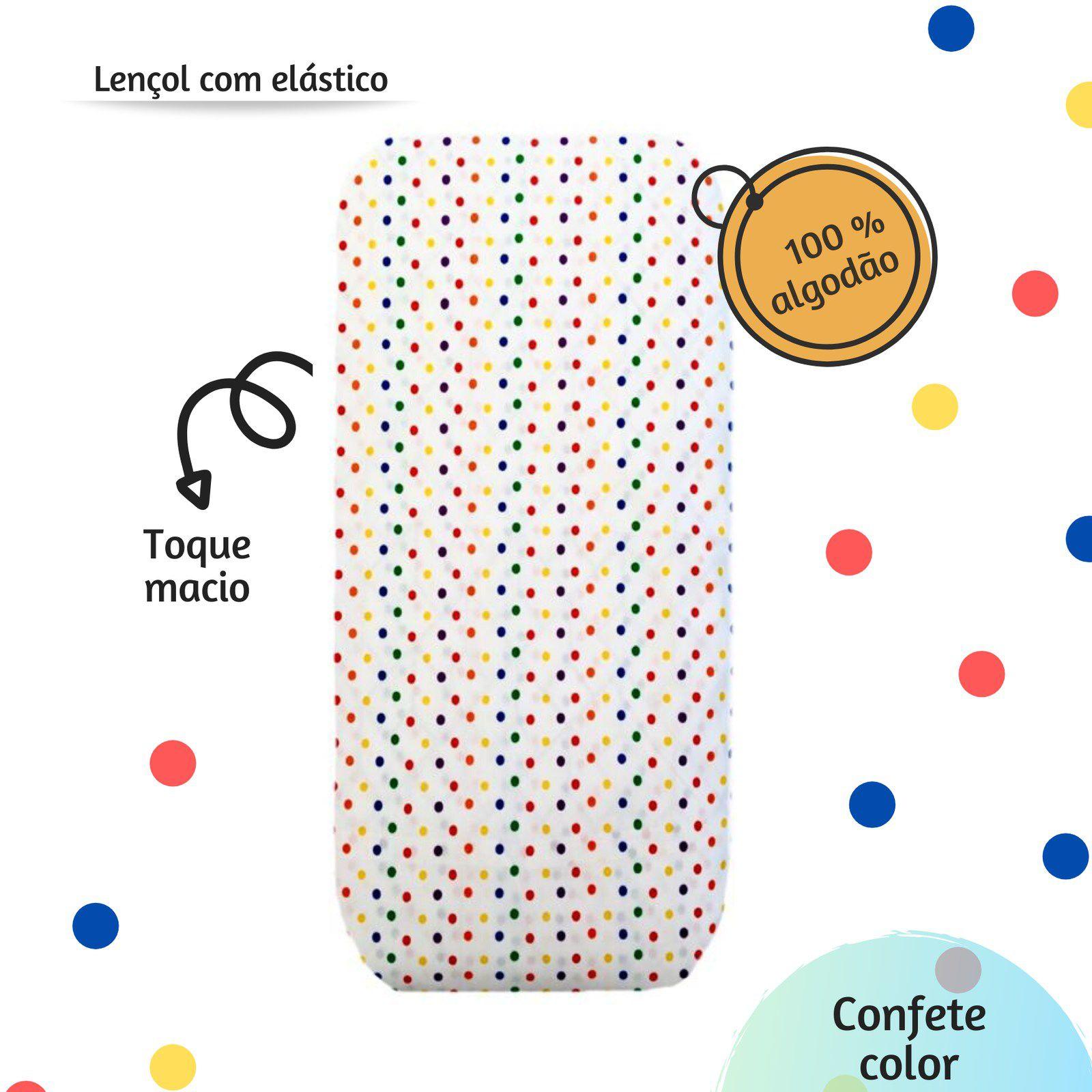 Lençol com elástico solteiro 88 x 188 cm  Confete color  - Pomelo Decor