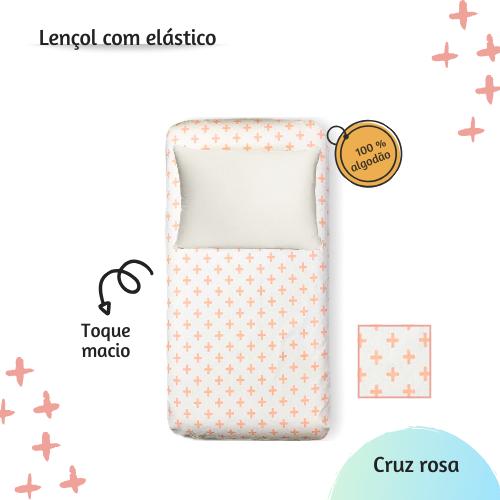 Lençol com elástico solteiro 88 x 188 cm  Cruz rosa  - Pomelo Decor