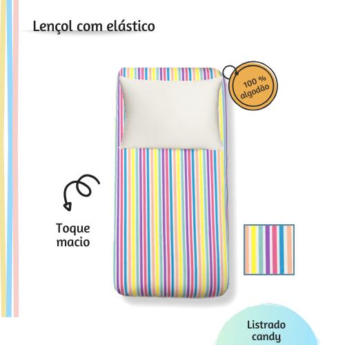 Lençol com elástico solteiro 88 x 188 Listrado candy