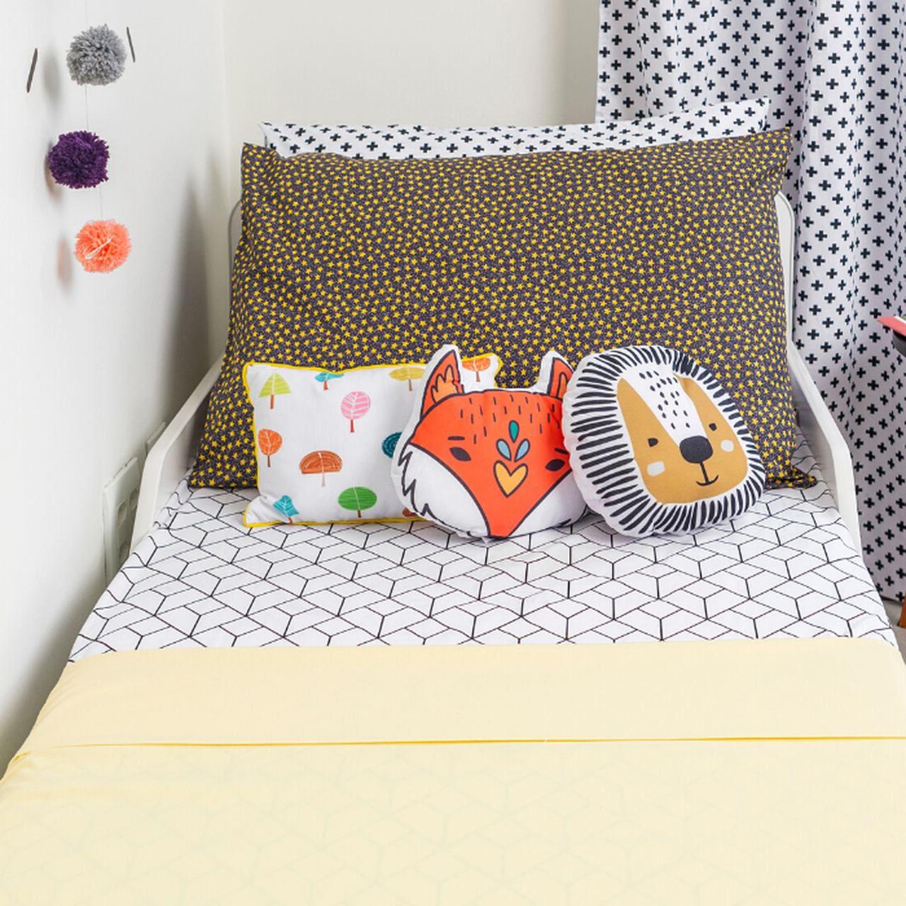 Lençol de cobrir berço 100% algodão, 105 x 145 cm cor Amarelo canário  - Pomelo Decor