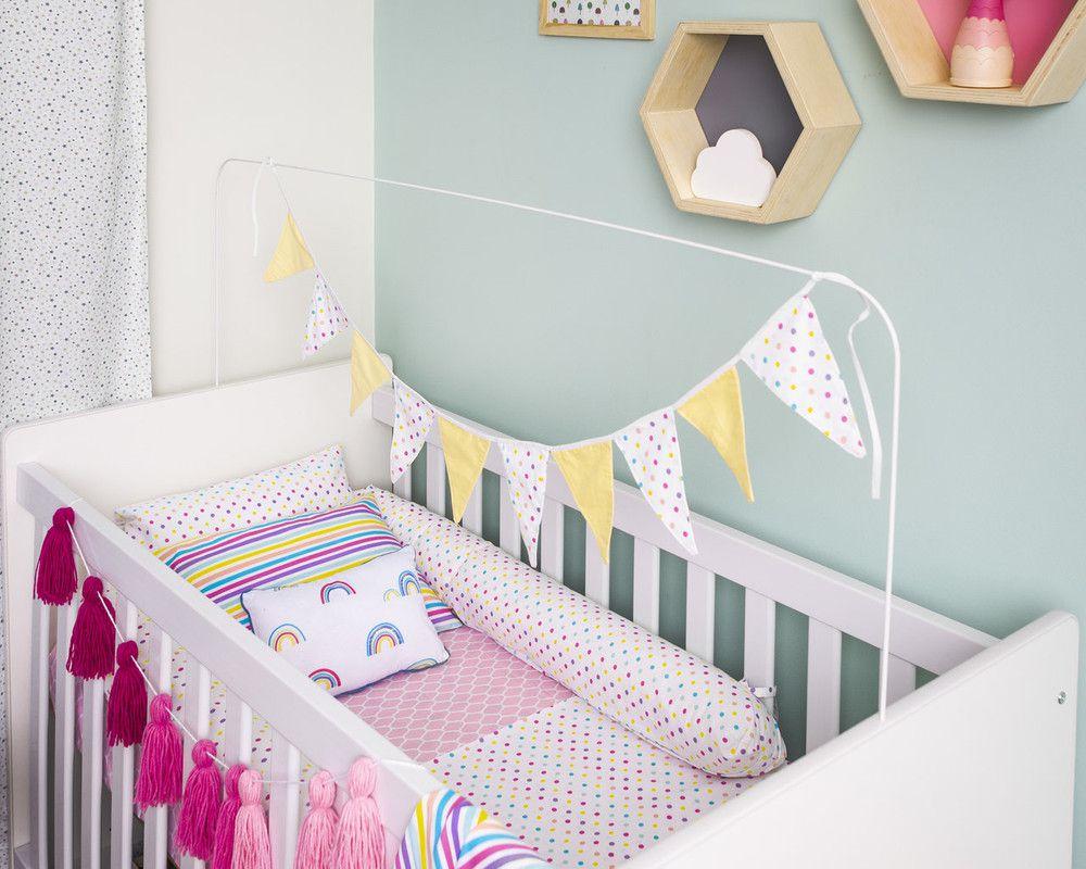 Lençol de cobrir berço, 100% algodão, 105 x 145 cm cor Confete candy  - Pomelo Decor