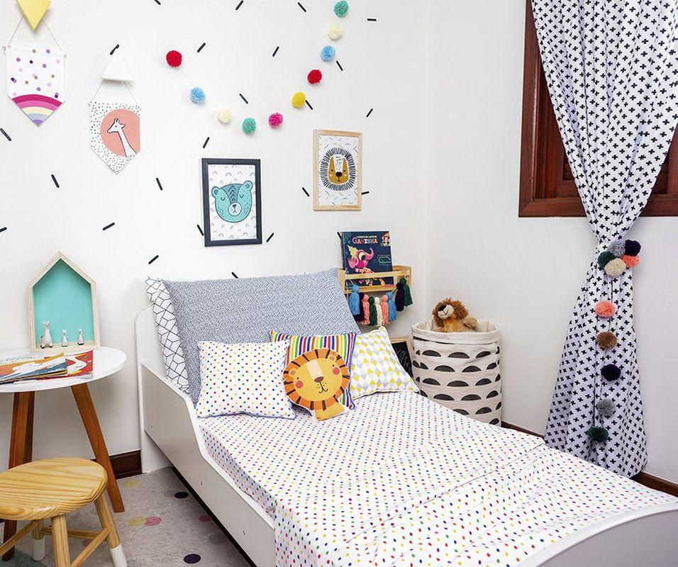 Lençol de cobrir mini cama 100% algodão, 120 x 180 Confete color