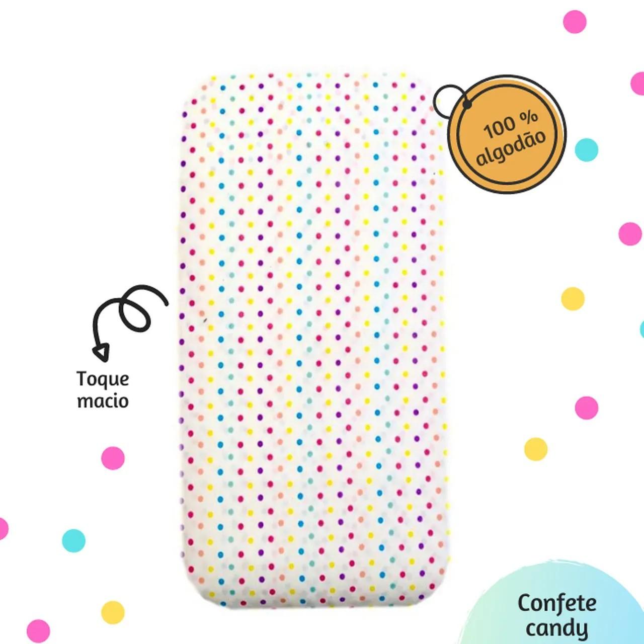 Lençol para mini berço Confete candy 100% algodão
