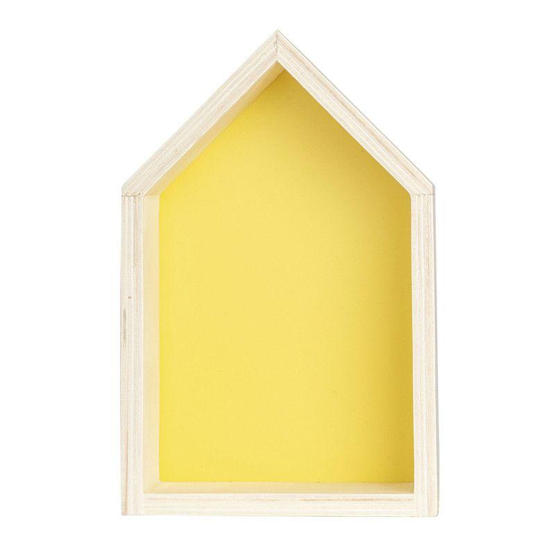 Nicho Casinha decoração 35 x 10 x 20 cor amarelo canário  - Pomelo Decor