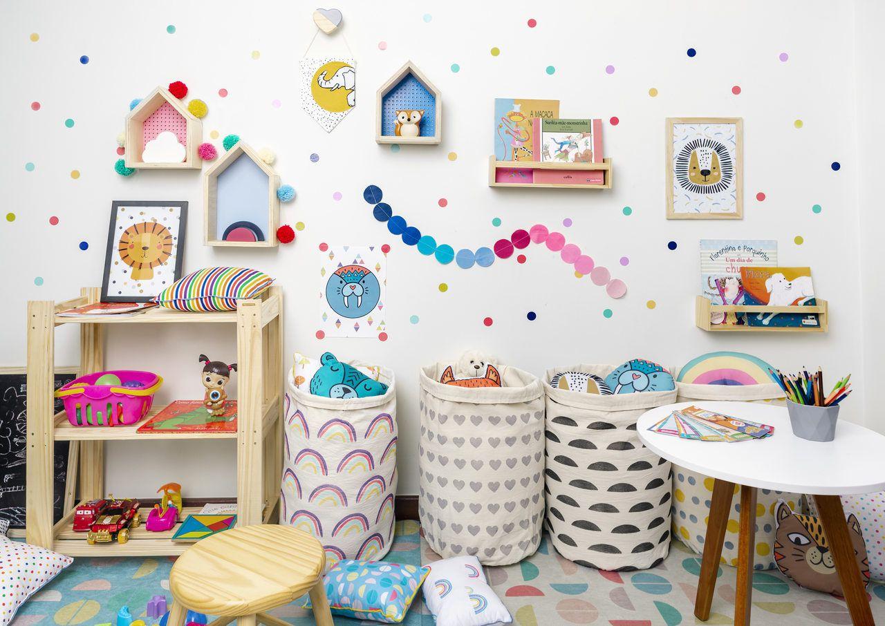Nicho Casinha decoração 35 x 10 x 20 cor azul  - Pomelo Decor