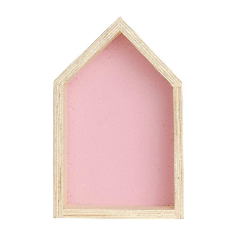 Nicho Casinha decoração 35 x 10 x 20 cor rosa tutti  - Pomelo Decor
