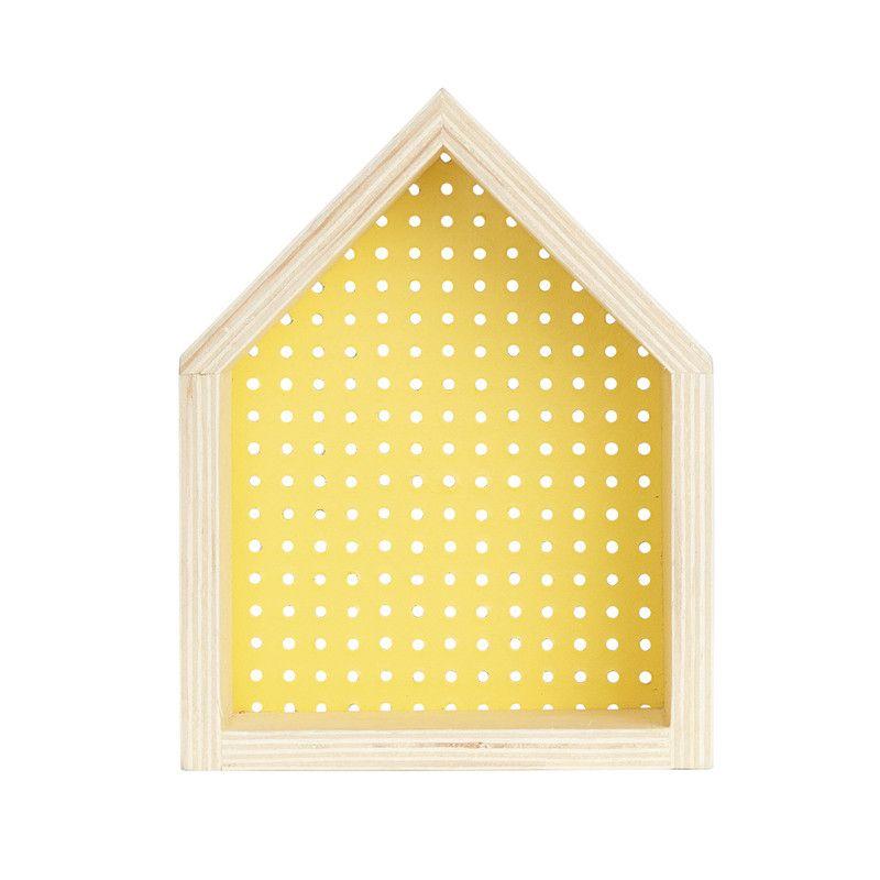 Nicho Casinha perfurado  decoração 26 x 10 x 20 cm cor amarelo