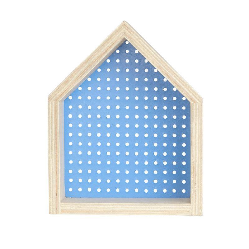 Nicho Casinha perfurado decoração 26 x 10 x 20 cm cor azul