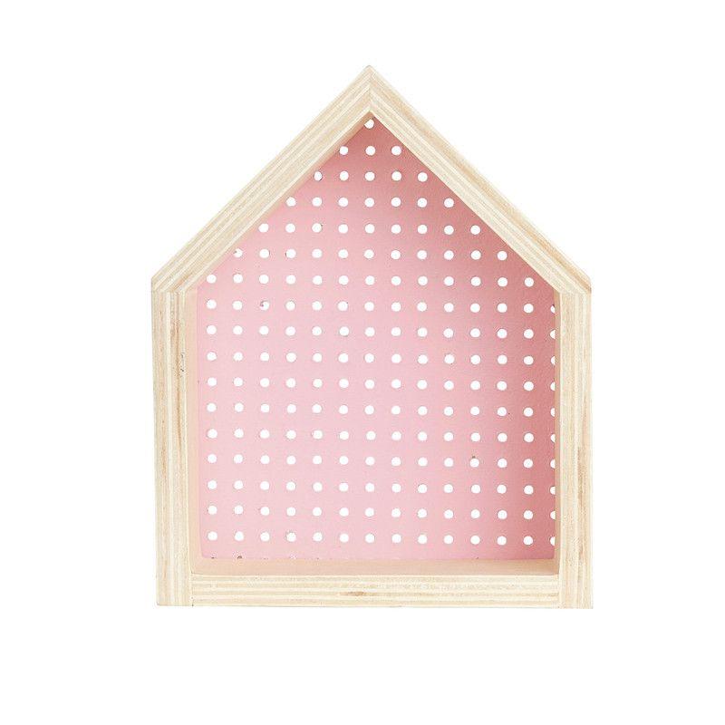 Nicho Casinha perfurado decoração 26 x 10 x 20 cm cor rosa tutti