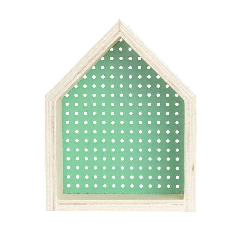Nicho Casinha perfurado decoração 26 x 10 x 20 cm cor verde menta