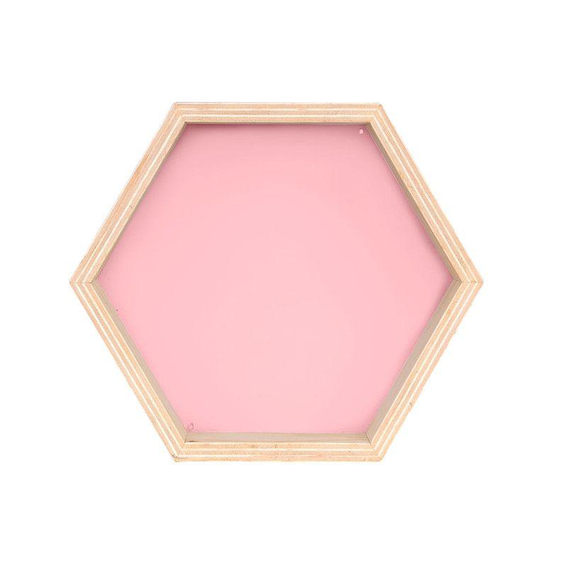 Nicho Colmeia decoração 30 x 10 x 30 cm cor rosa tutti  - Pomelo Decor