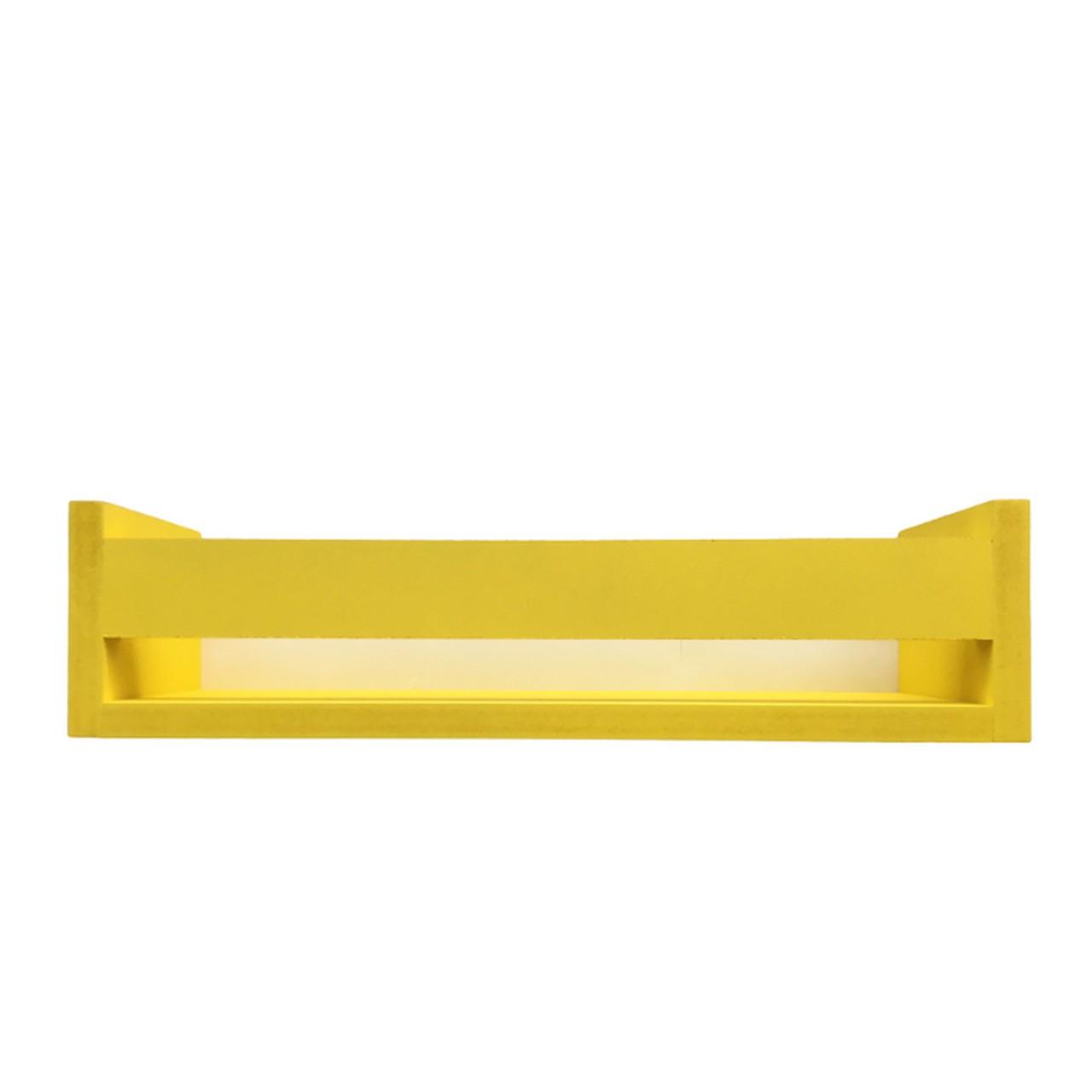 Porta livro de madeira cor amarelo 40 cm