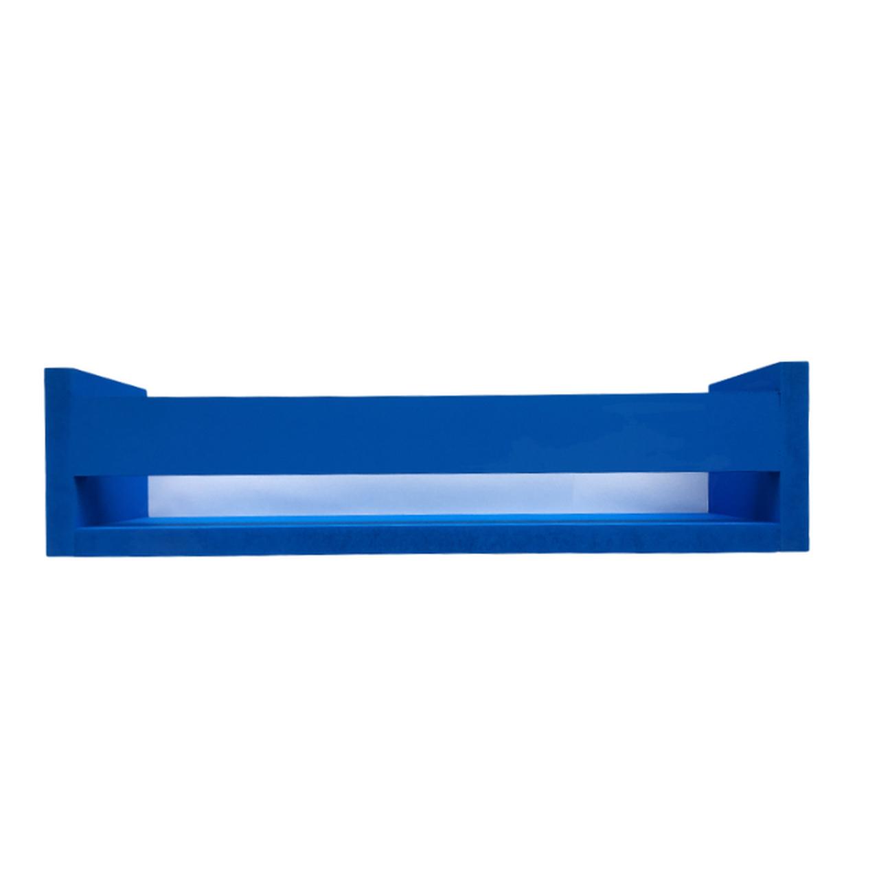 Porta livro de madeira cor azul 40 cm