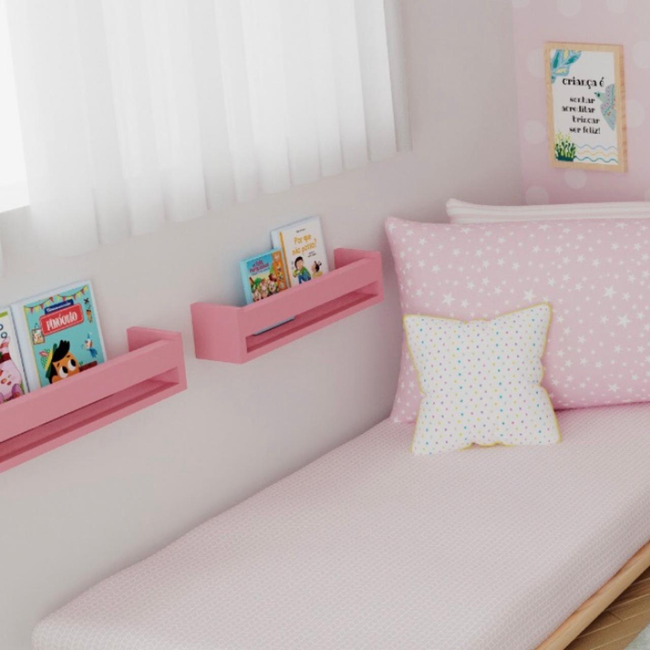 Porta livro de madeira cor rosa 40 cm :)