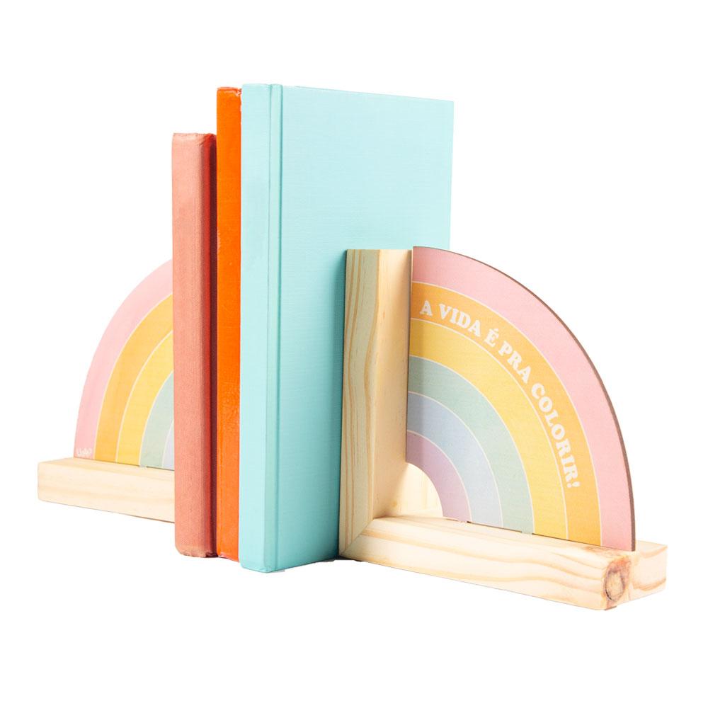 Porta Livros de madeira arco iris