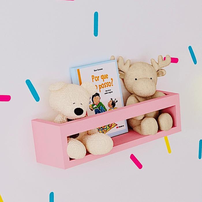 Porta livros infantil cor rosa