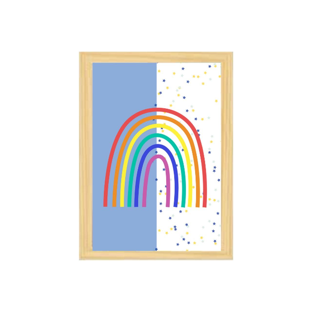 Poster colorido quarto infantil  A4 Arco íris