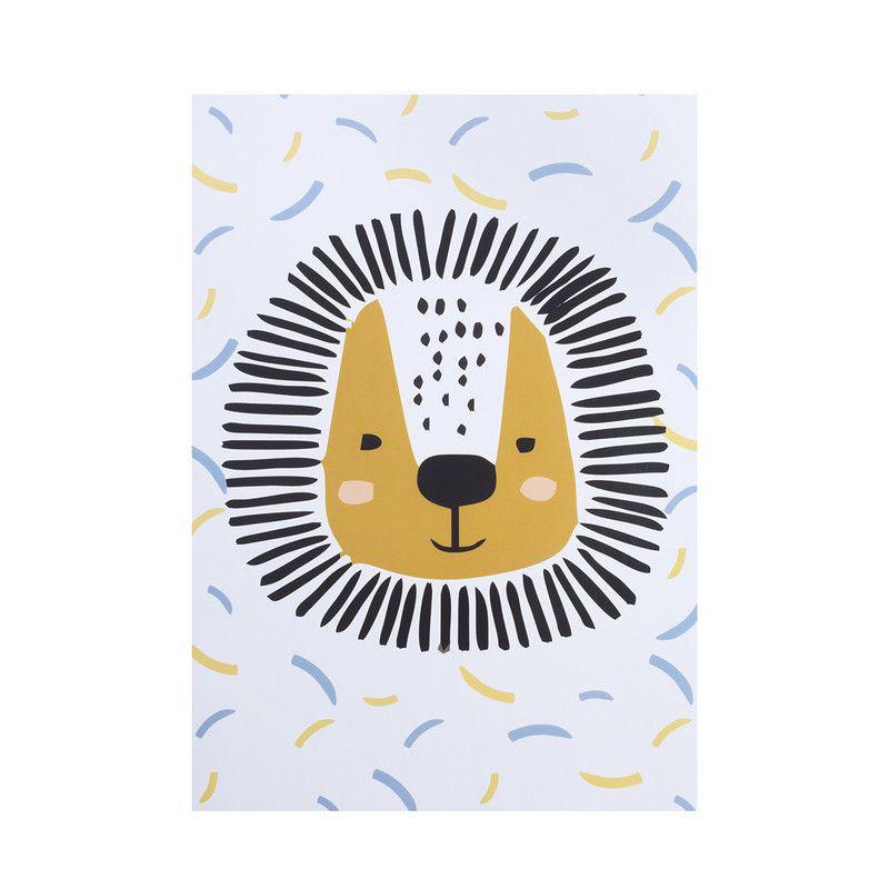 Poster colorido quarto infantil A4 Lion