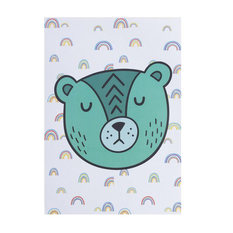 Poster colorido quarto infantil A4 Urso Soneca